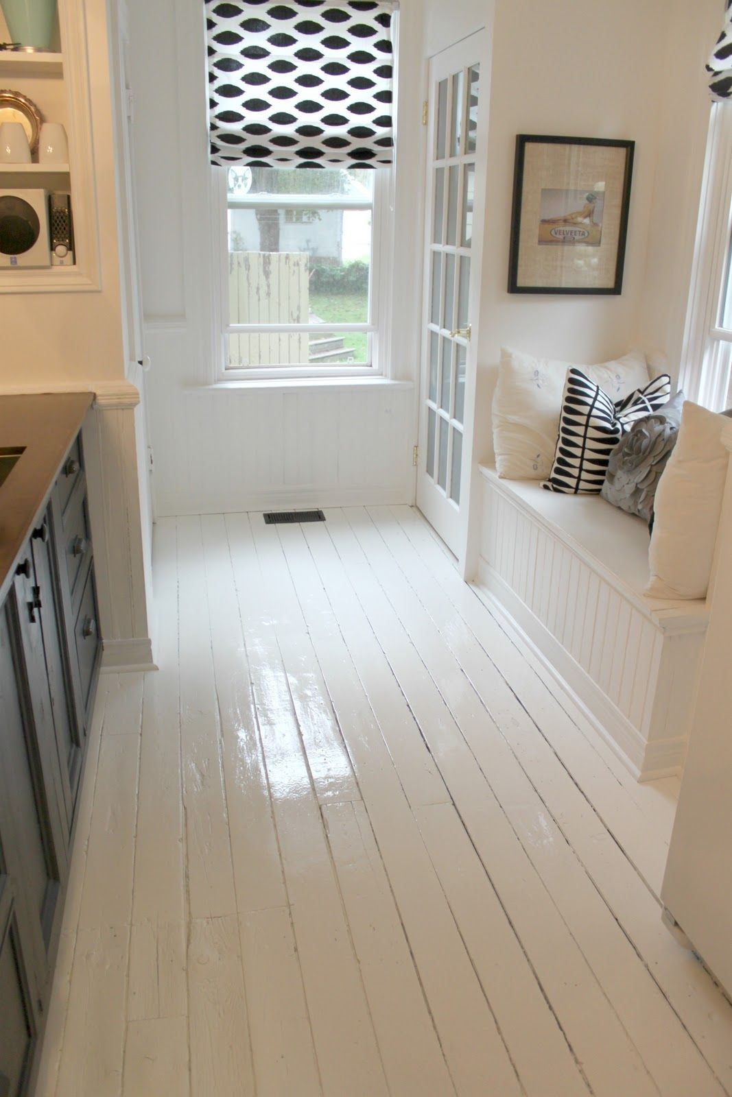 Great Little Nook In A Kitchen Made By Girl Featured The Clean Shiny Newly Painted White F White Painted Floors White Painted Wood Floors Painted Wood Floors