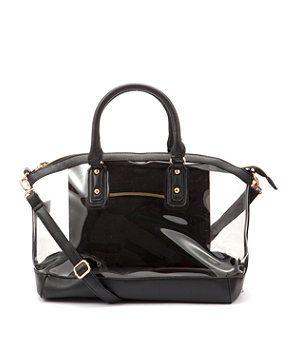 New Look Black Winged Transparent Bowler Bag