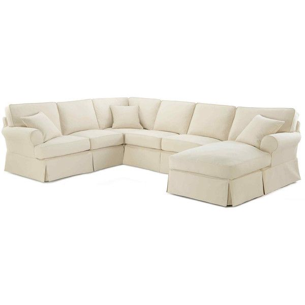 Friday Twill 4 pc Slipcovered Chaise Sectional $2 698 ❤ liked