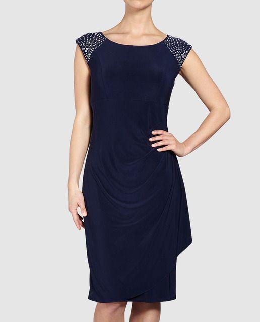 Vestido de fiesta de mujer Gina Bacconi en azul con pedrería en los hombros