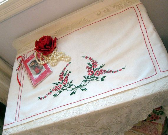 Runner Embroidered Runner Red Flowers Dresser by mailordervintage