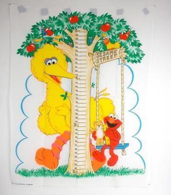 Vtg Spectrix Sesame Street Kids Growth Chart Fabric Panel Elmo