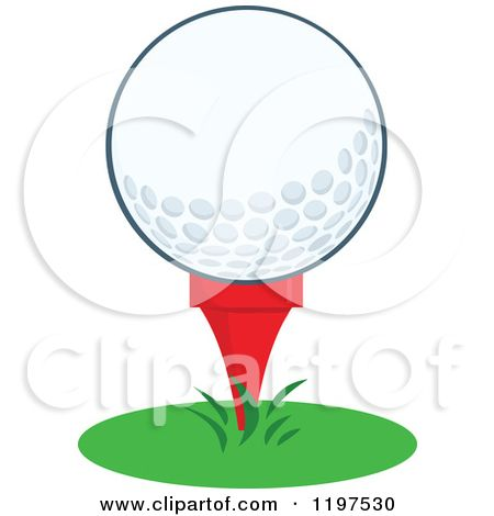 Cartoon Of A Golf Ball On A Tee In Grass Royalty Free Vector Clipart By Hit Toon Golf Clip Art Free Vector Clipart Clip Art