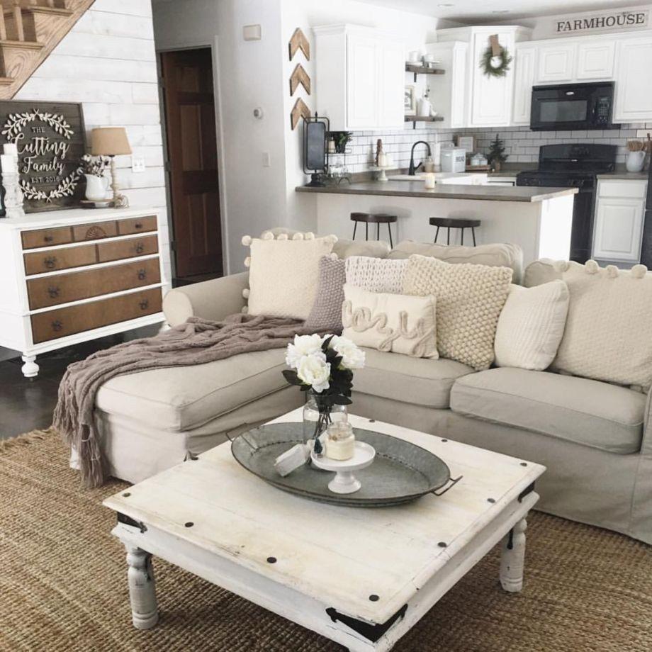 Cozy farmhouse living room decor ideas 39 | decorating ...