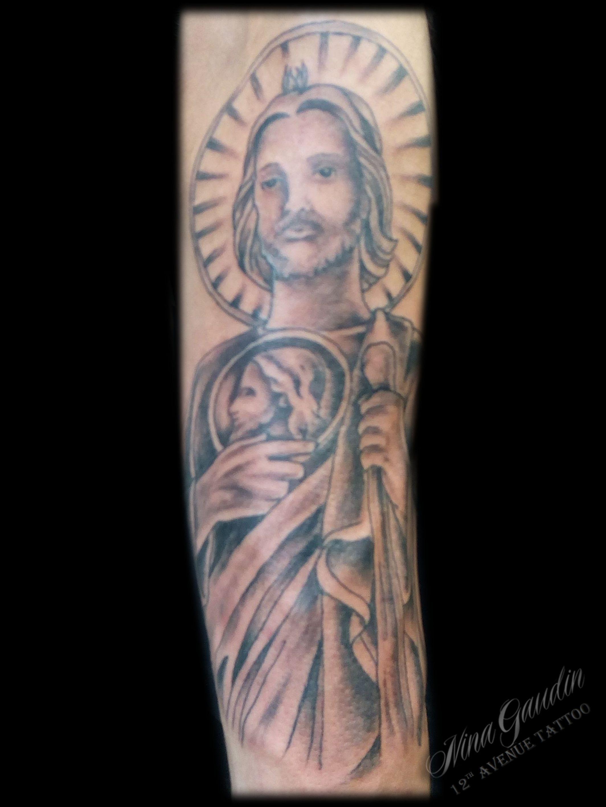 Saint Jude forearm black grey - Tattoo by Nina Gaudin of 12th Avenue ...