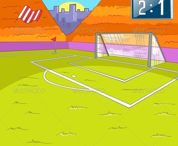 Soccer Field Witt Grass And Gate Vector Cartoon Background Eps 10 Soccer Field Cartoon Background Paper Crafts Diy Kids