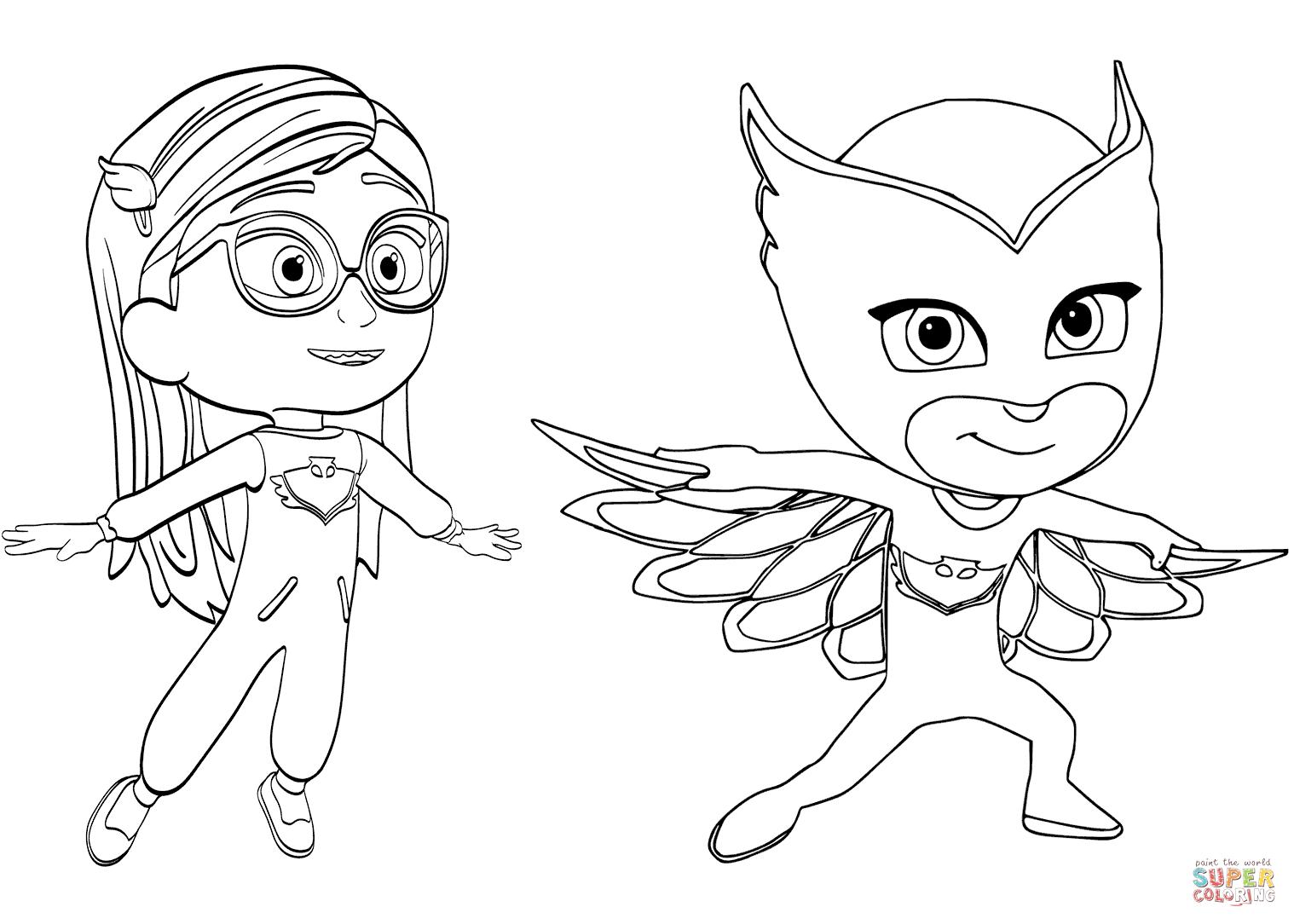 Pajama Hero Amaya Is Owlette From Pj Masks Coloring Page Free