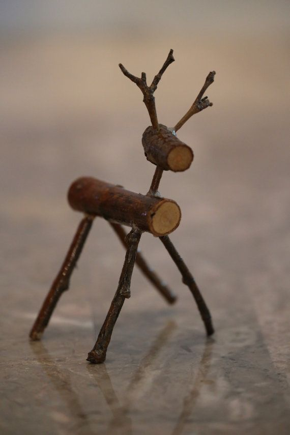 Rustic wood reindeer by PaulaFolawn on Etsy