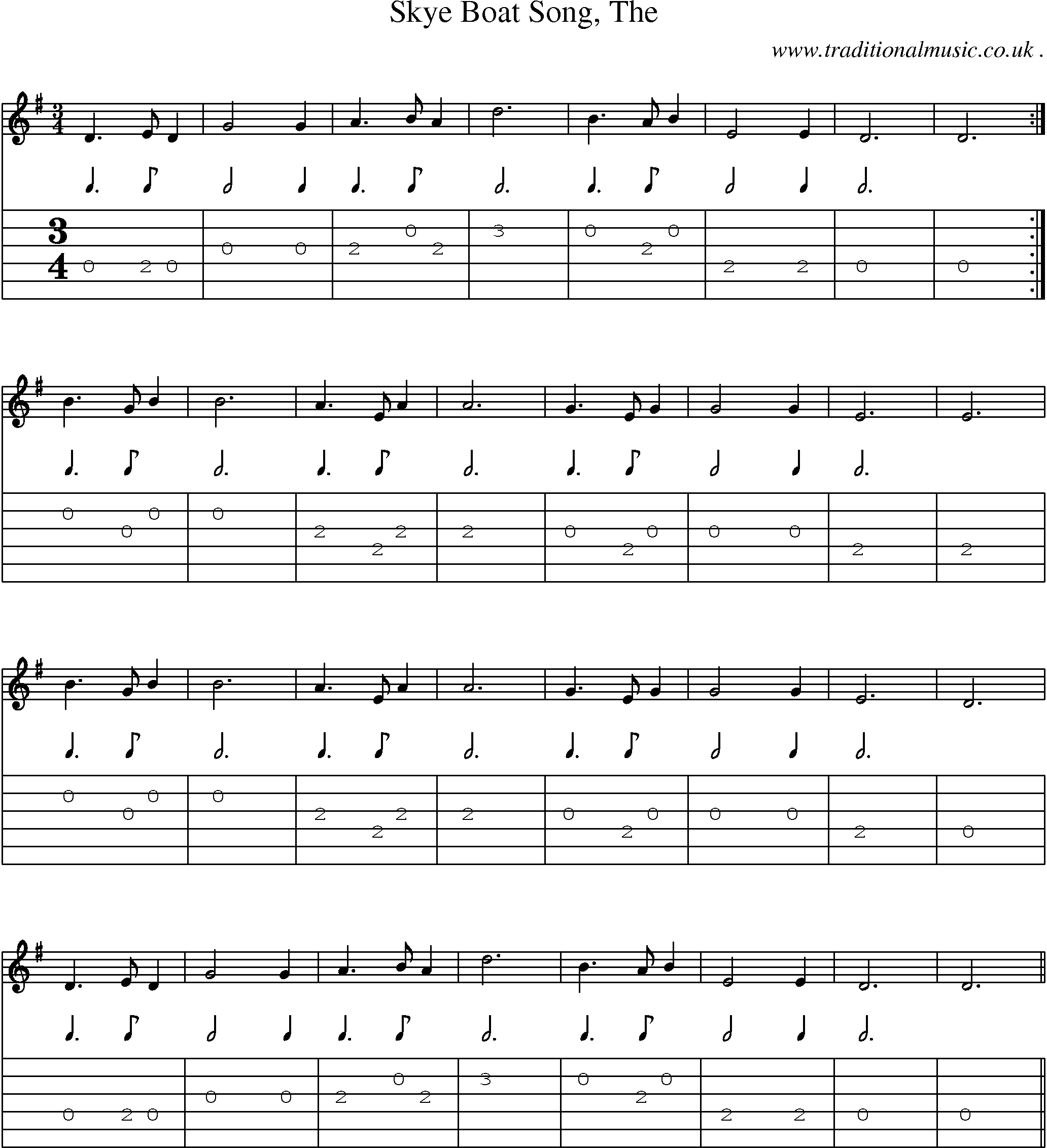 Sheet Music Score Chords And Guitar Tabs For Skye Boat Song The