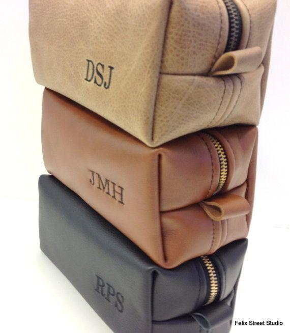 Mens Wedding Gift Ideas: Personalized Leather Dopp Kit Groomsmen Gift
