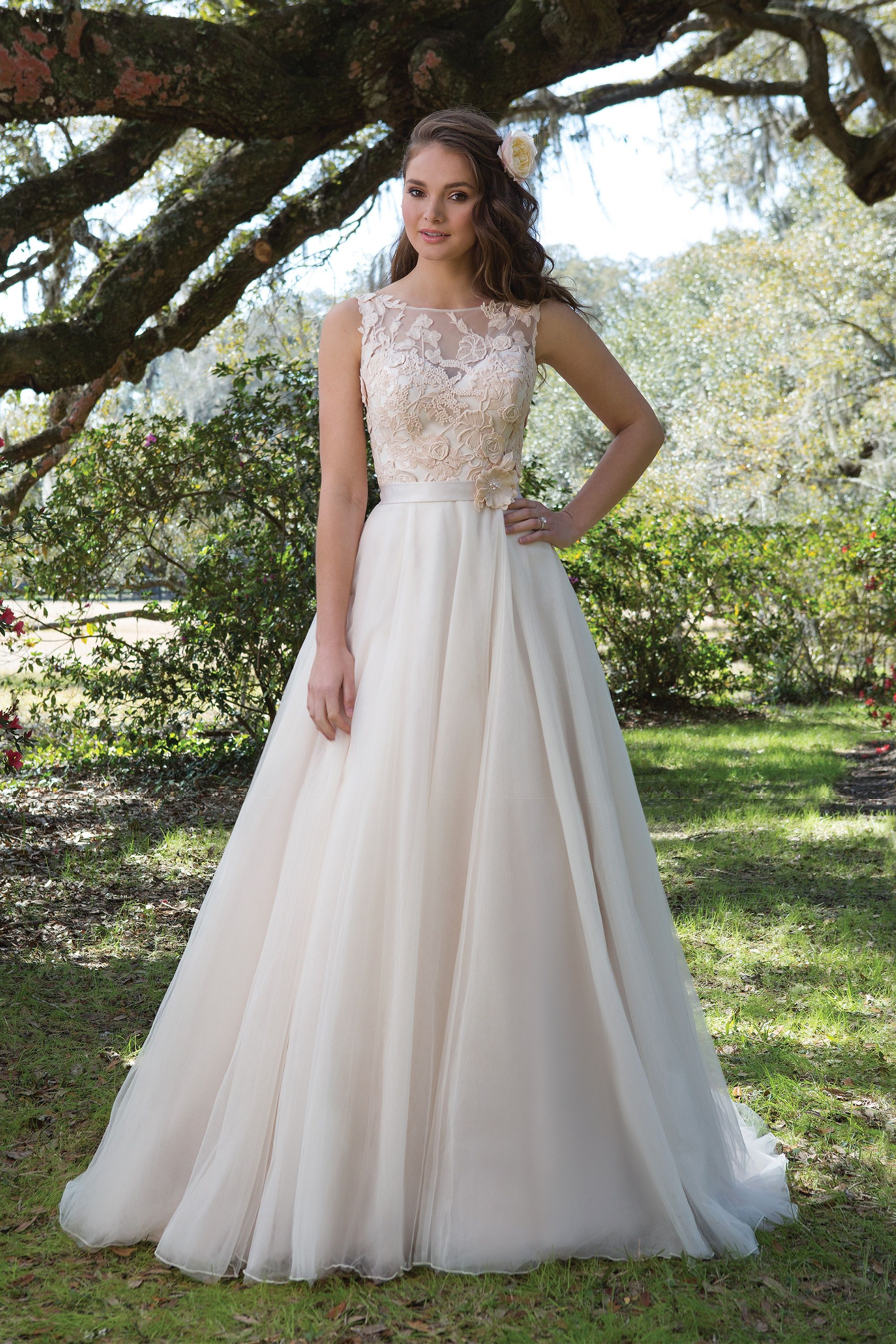 Embroidered lace wedding dress  Embroidered Lace Ball Gown with Sabrina Neckline Justin Alexander
