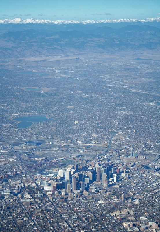 Aerial view of The Mile High City and the Rocky Mountains. #denver #colorado