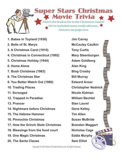 Christmas Super Stars Movies Trivia Printable Christmas Games Christmas Movie Trivia Christmas Games