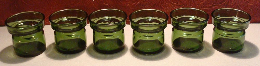 6 Vintage DANSK Designs Glass Candle Votive Holders Green Denmark #DanskDesigns