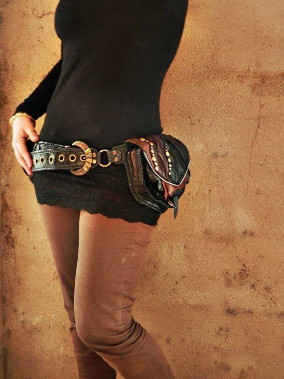 f15eab7eb Medieval punk leather pocket belt