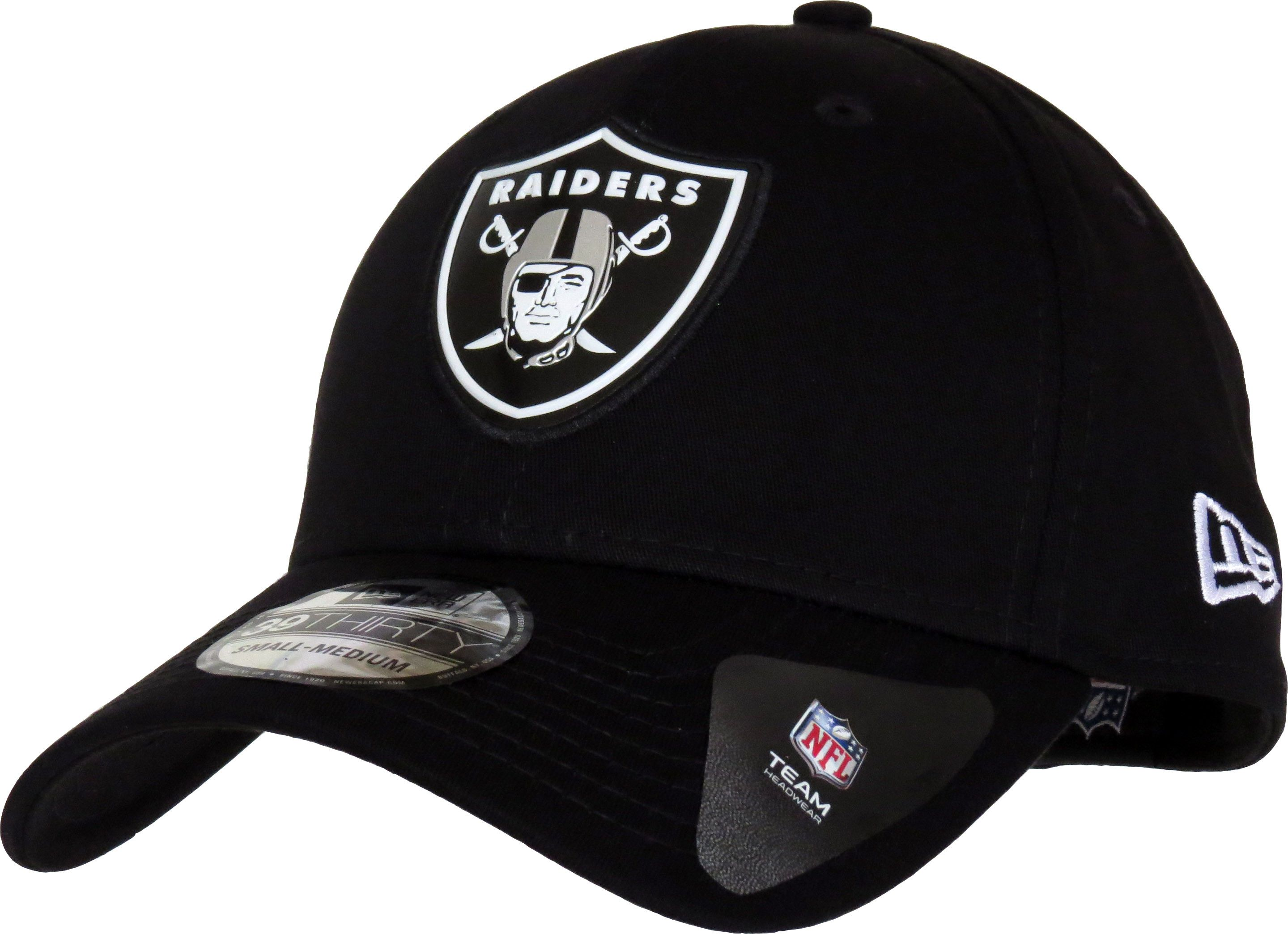 804009c7d25ba6 New Era 39Thirty NFL Team Logo Weld Stretch Fit Cap. Black, with the Oakland