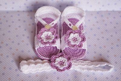 sandalias lilas con diadema de ganchillo para beb ms
