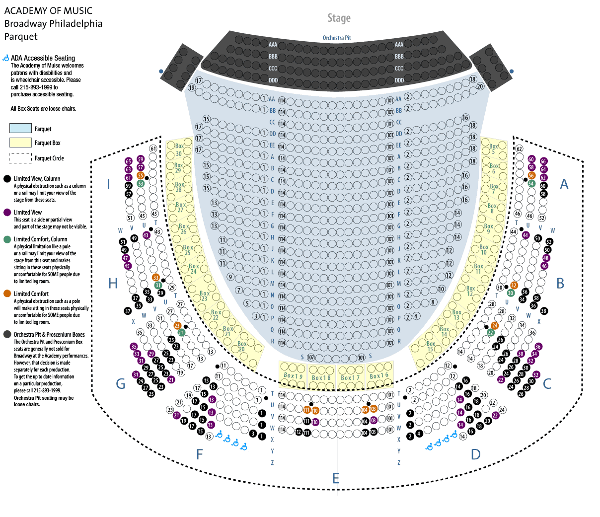 AOM Broadway Parquet | Academy of music, Seating charts, Seating