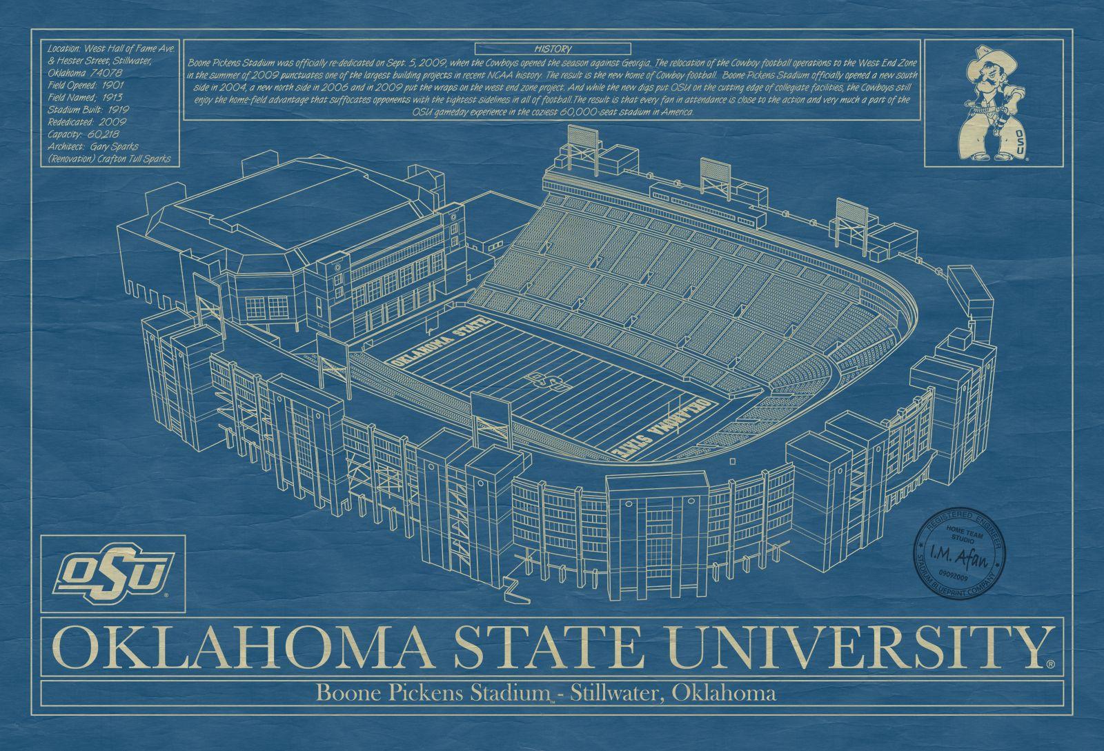 Oklahoma states boone pickens stadium as a unique blueprint style oklahoma states boone pickens stadium as a unique blueprint style piece of art malvernweather Gallery