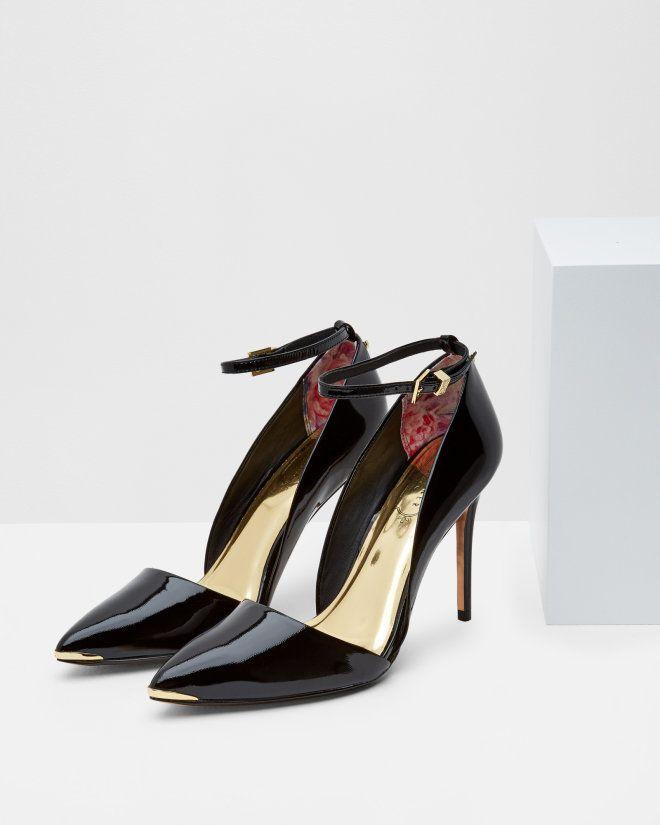 Ankle strap heeled courts - Black | Footwear | Ted Baker UK