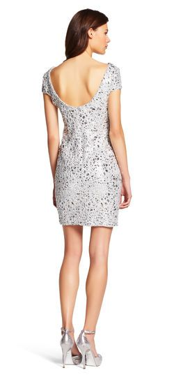 Adrianna Papell | Short Sleeve Sequin Cocktail Dress