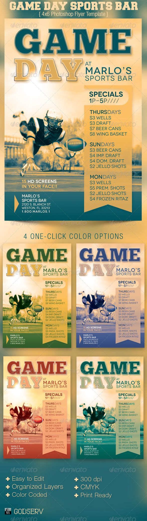 Game Day Sports Bar Flyer Template  Sports Bars Flyer Template