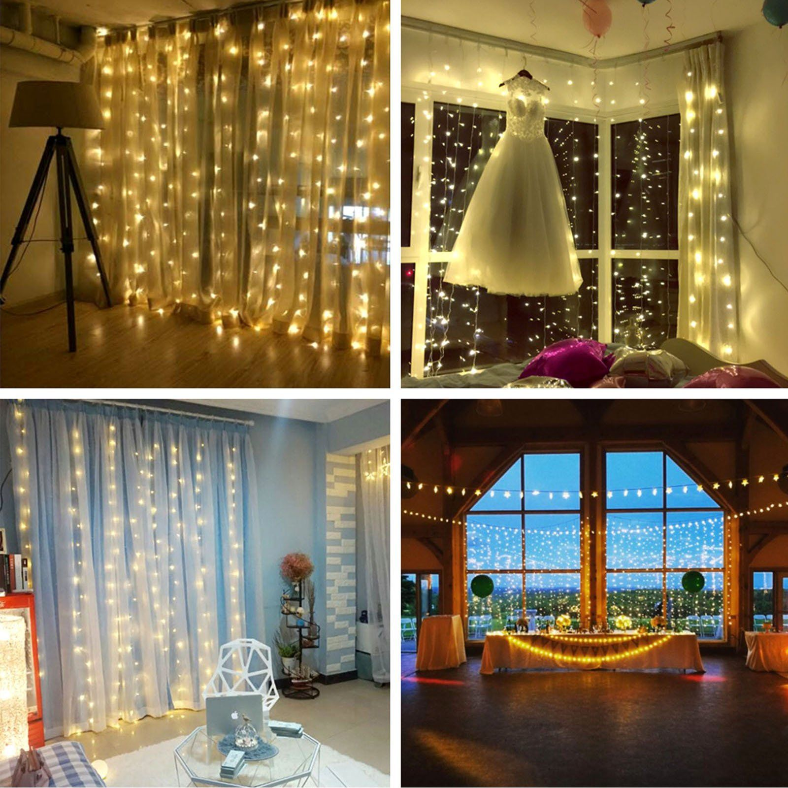 Christmas Led Curtain String Light, With Diamond Pendant And Hook,