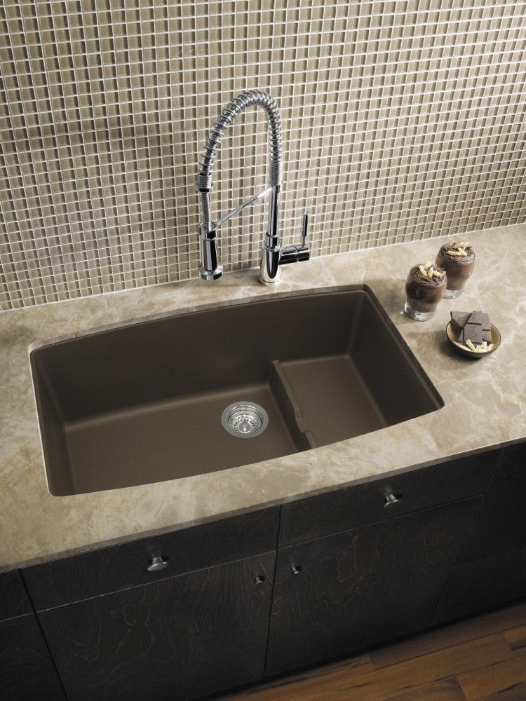 Light Countertops Dark Cabinets Dark Sink Kitchen
