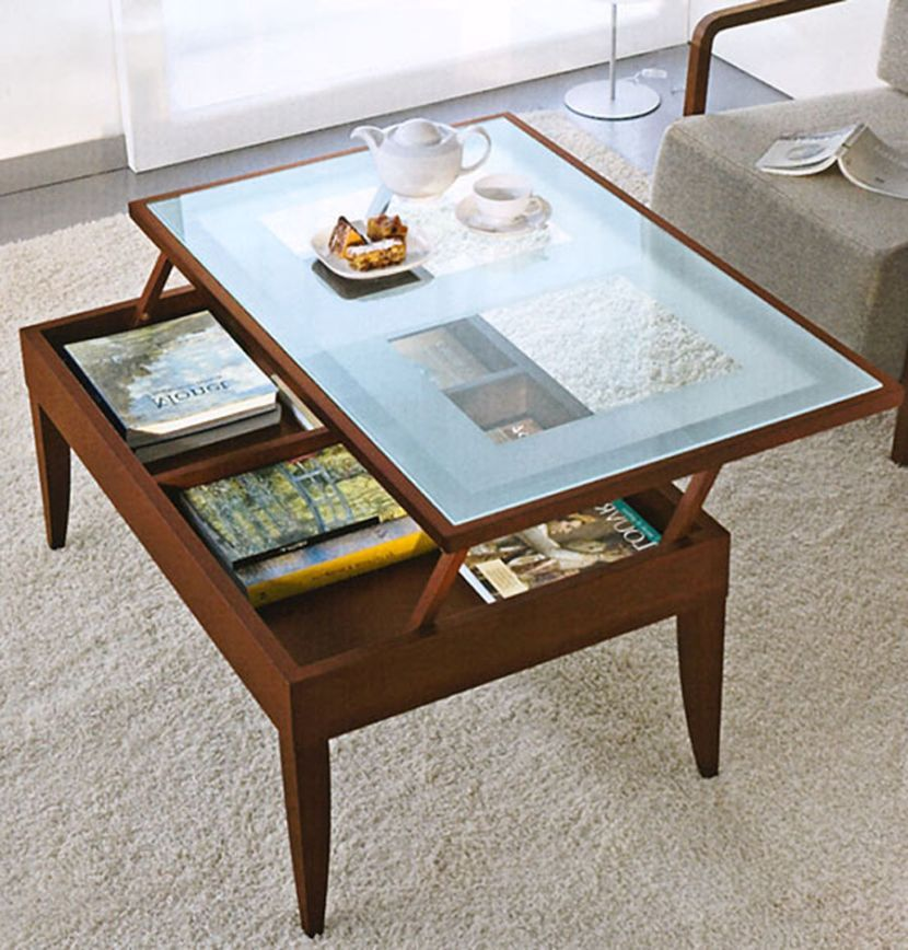 Glass Lift Top Coffee Table With Storage Compartment