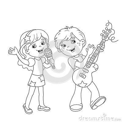 Kids Singing Stage Stock Illustrations