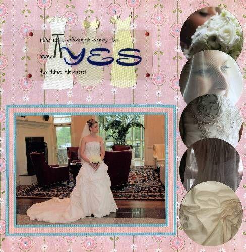 Wedding dress choice scrapbook page
