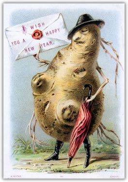 new years greetings from aturnip potato withriding boots and an umbrella something to consider as you select holiday cards this year in a hundred