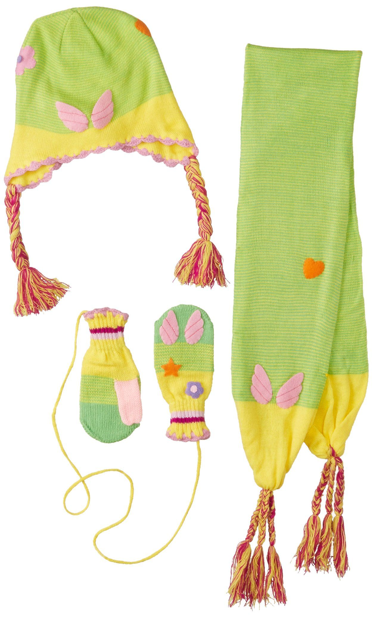 Kidorable Green//Yellow Soft Acrylic Fairy Hat//Scarf//Mitten Set for Girls w//Fun Fairy Wings