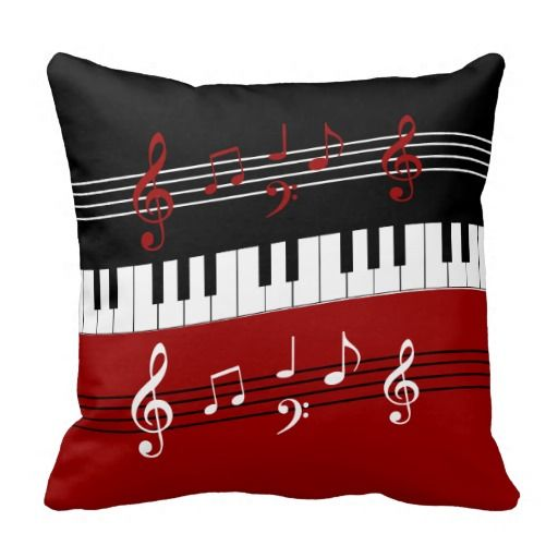 Stylish Red Black White Piano Keys and Notes Throw Pillow