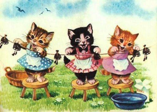 Vintage Illustration Of Three Kittens Hanging Laundry Adorable