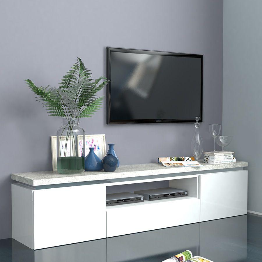 Meuble Blanc Laqué Brillant meuble tv blanc laqué brillant et effet béton nemesis 2