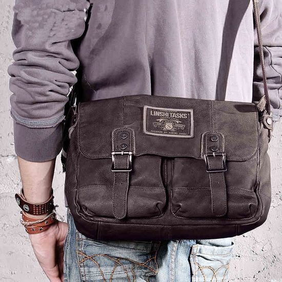 Coffee Leather Messenger Satchels Bags For Men