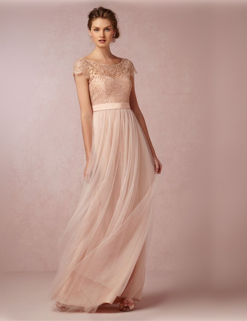 Buy cheap strapless floor length chiffon coral bridesmaid dress - A Line Princess Short Sleeves Bateau Tulle Pleats Floor Length Bridesmaid Dresses At Herdress Online