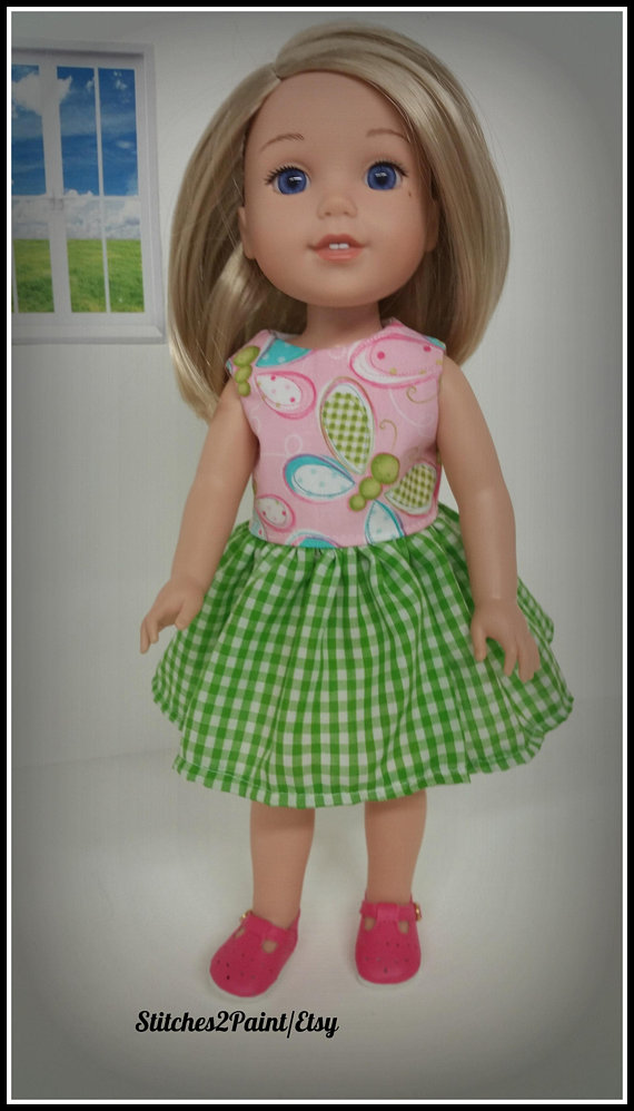 Blue Doll Dress White Polka Dots Clothes Fits American Girl Wellie Wisher Dolls