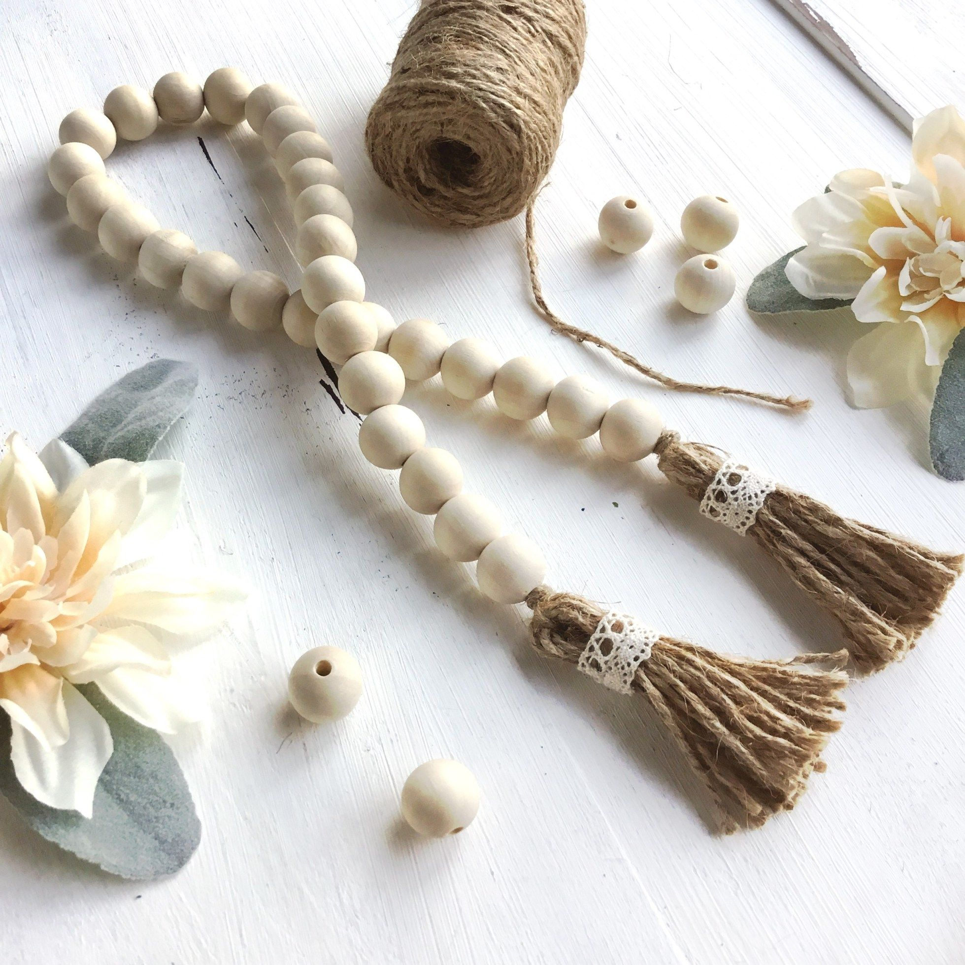 Wood Bead Garland Natural Beaded garland, Wood bead
