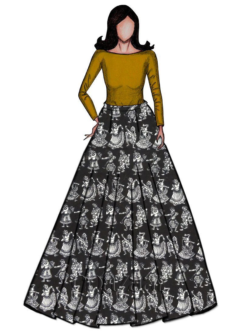 1922e0dc3 Buy Golden Yellow Croptop N Black Kalamkari Skirt set online, SKU Code:  IWBS1802382. This Black color After Six indowestern sets and suits for  Women comes ...