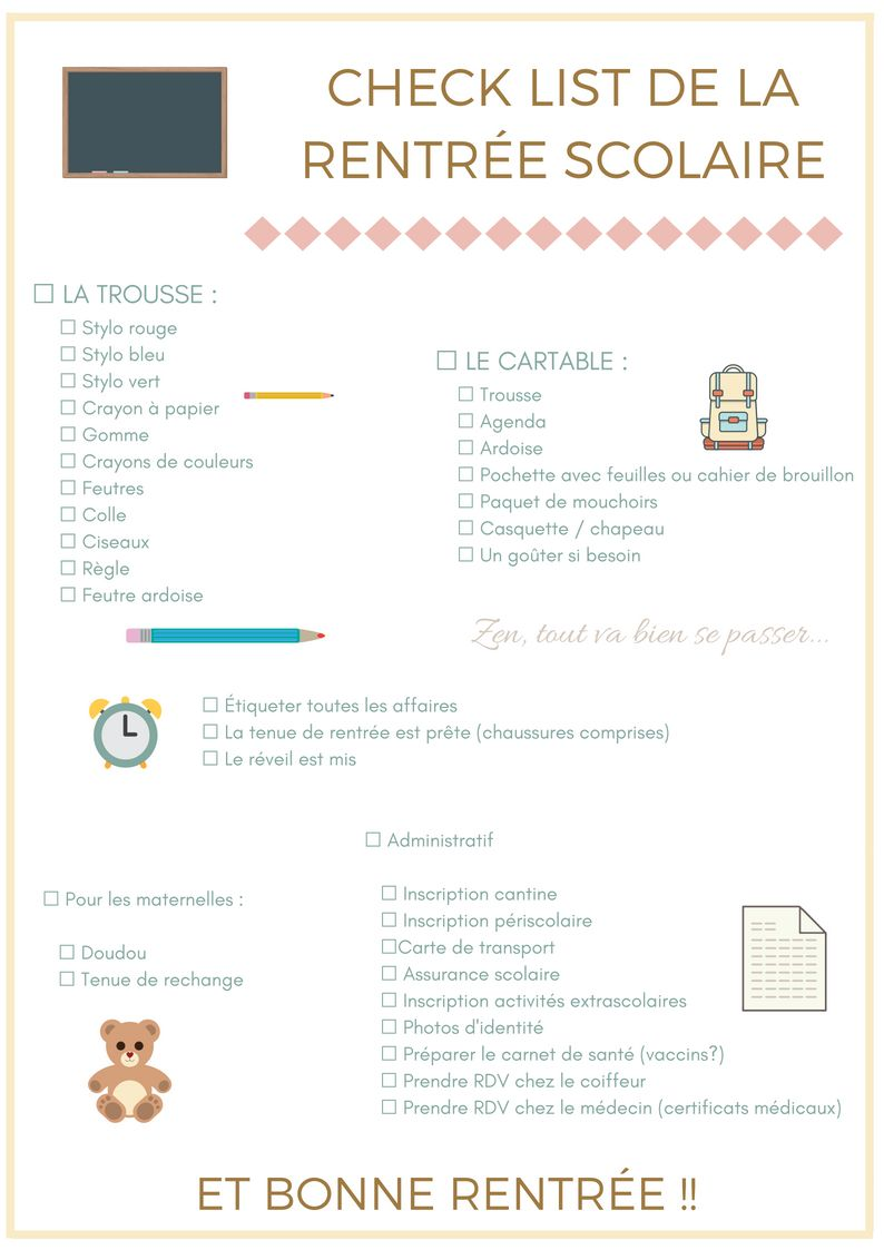 La Check List De La Rentree A Imprimer Astuces Pour La Rentree Scolaire Liste Scolaire Astuces Pour La Rentree