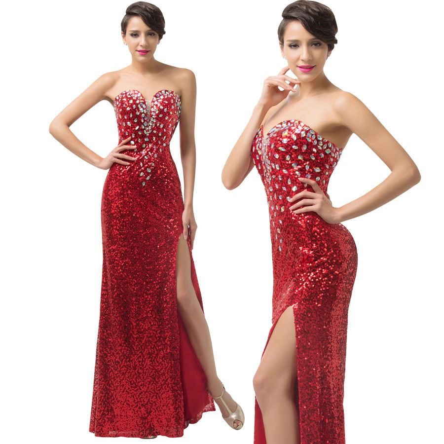 Red biling sequins long prom dresses bridesmaid formal evening party
