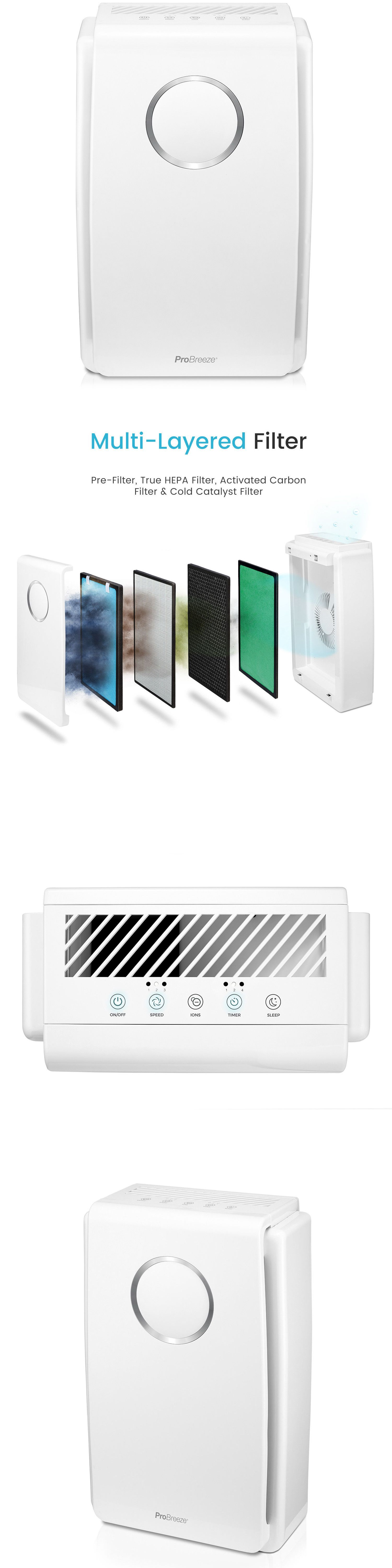 Air Purifiers 43510 Pro Breeze 5 In 1 Air Purifier True Hepa Carbon Cold Catalyst And Ionizer Buy It Now Only 119 99 O Air Purifier Purifier Ionizer