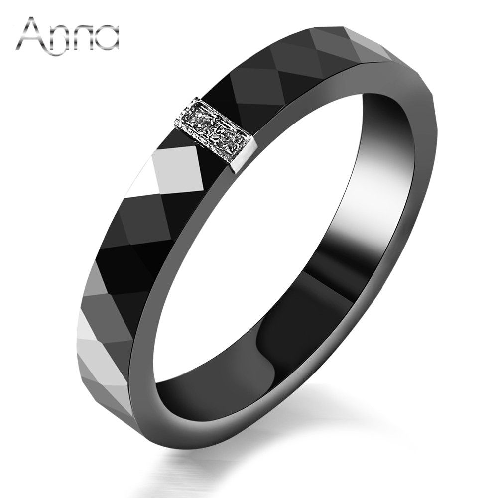 AN Women Ceramic Rings Black Wedding Rings Graduated Gifts