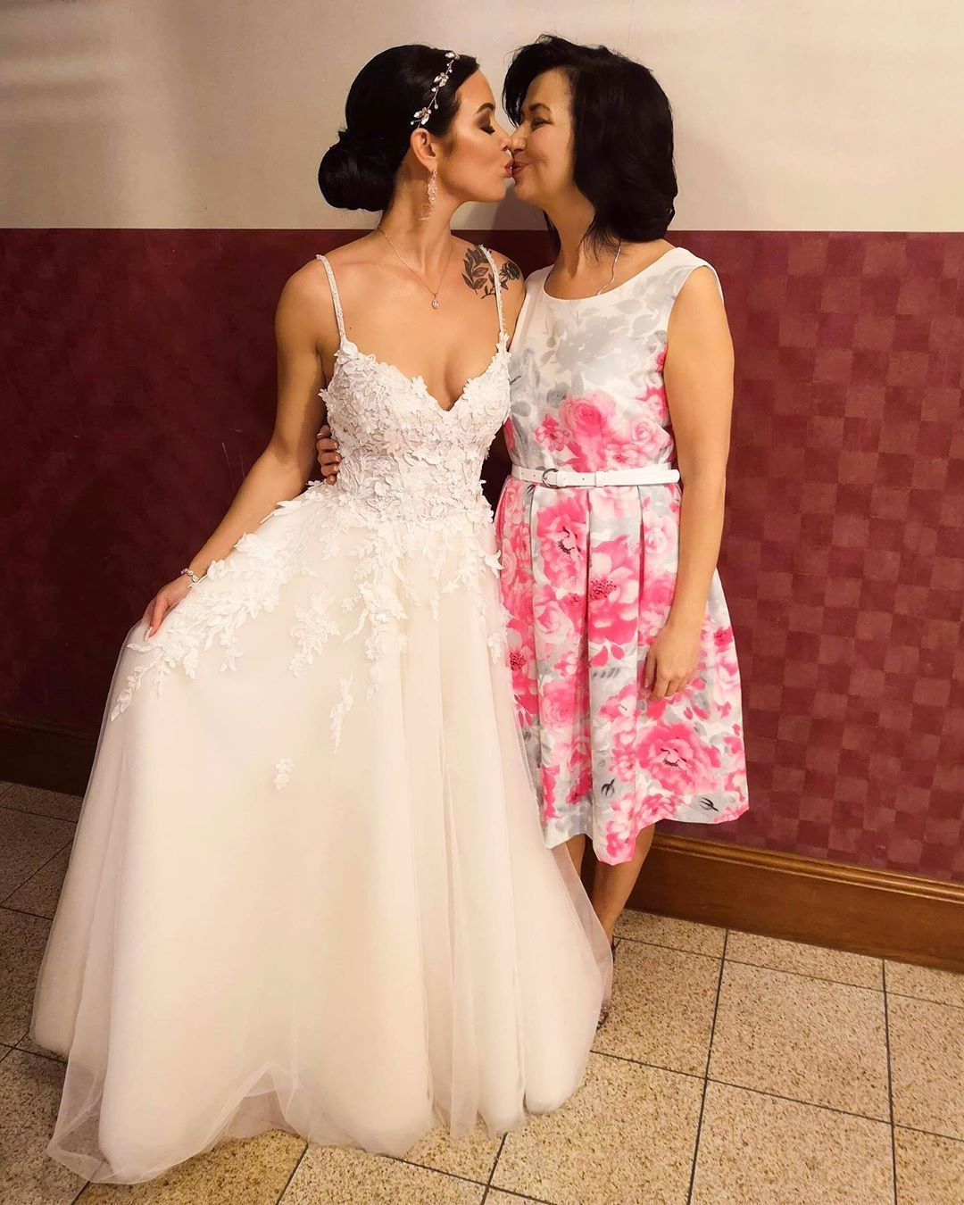 A Bride With Hairstyle And Make Up In Gorgeous Pink Wedding Dress
