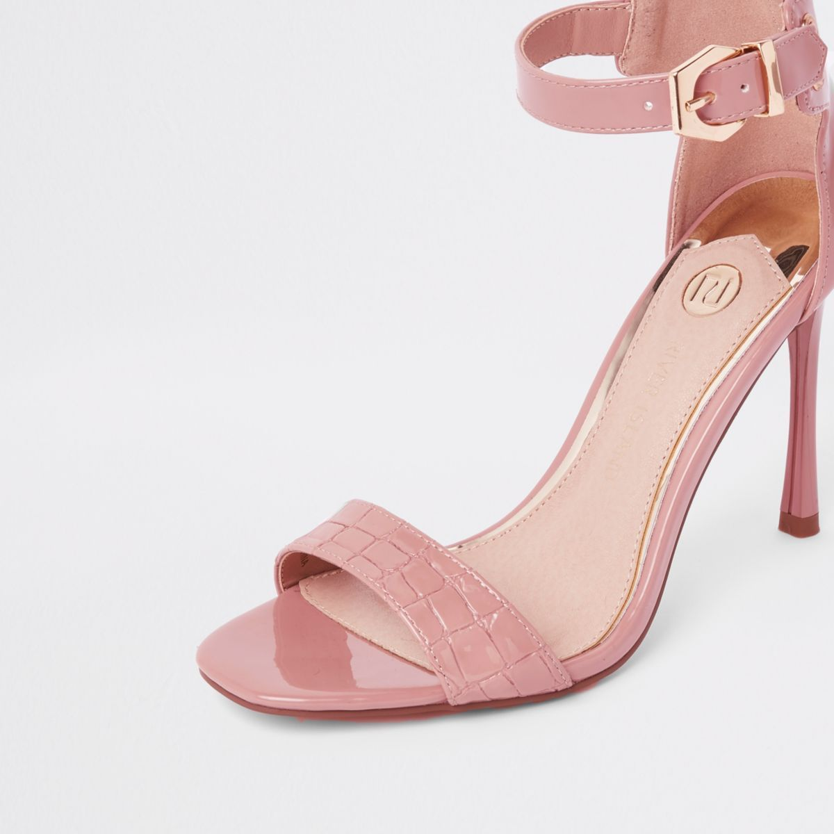 fdd0f91ba29 Light pink croc barely there sandals in 2019   PARTY OUTFITS   AW18 ...