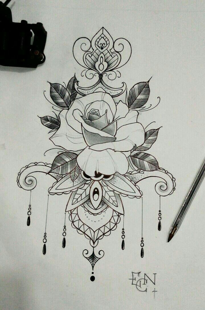 Tattoo Idea, Mandala, Floral, Flowers, Rose Tattoo, Drawing, Floral ...
