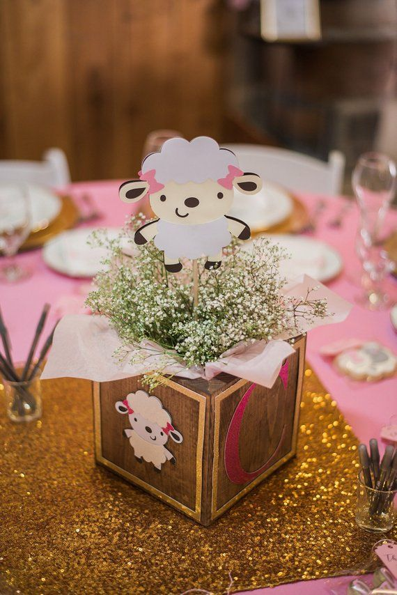 Girl Lamb Baby Shower 5 Lamb Centerpiece Stakes Lamb