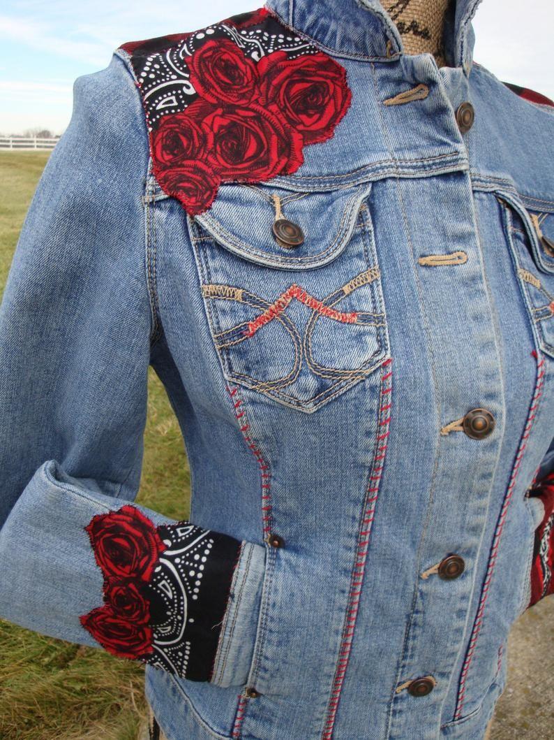 Gorgeous Rose Jean Jacket Etsy Embellished Denim Jacket Embellished Denim Upcycled Denim Jacket [ 1059 x 794 Pixel ]